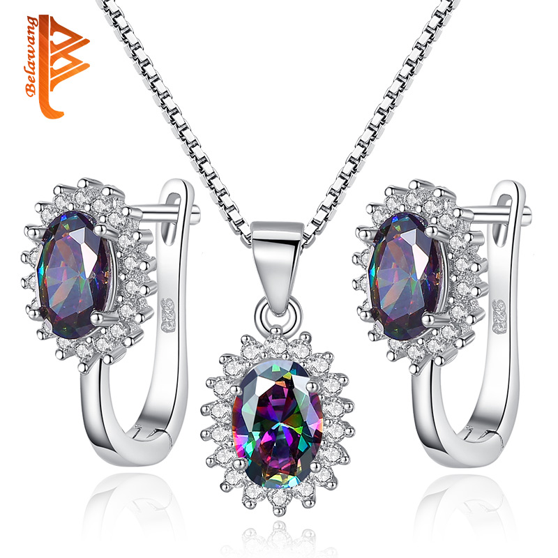BELAWANG Multicolor Rainbow Purple Crystal 925 Sterling Silver Jewelry Sets For Women Earrings/Necklace/Pendant Free Shipping цена