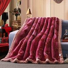 バラとハート太いふわふわファジィミンク毛布二重層投球毛布クイーンサイズ刺繍入り暖かいラッセル結婚式の毛布
