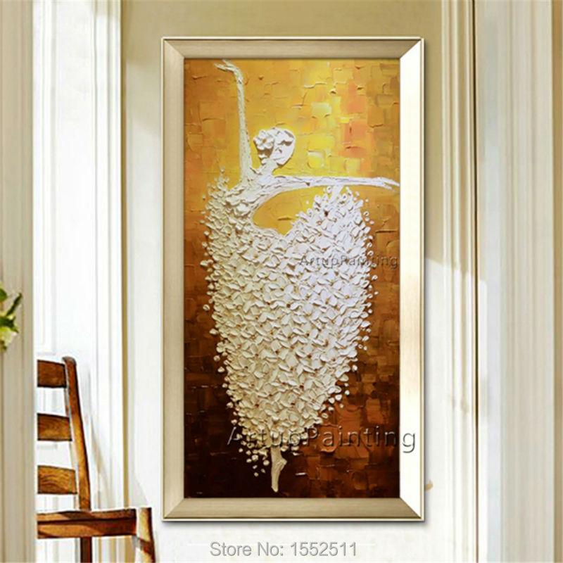 Baletní tanečník malba quadro caudros decoracion akrylová paleta nůž textury plátno malba nástěnné umění obrazy pro obývací pokoj