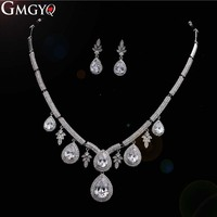 GMGYQ Classic Silver Color Zirconia Female Elegant Jewelry Gift Set Jewelry Gifts For Women's Girlfriends