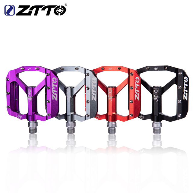 ZTTO MTB Bearing Aluminum Alloy Flat Pedal Bicycle Good Grip Lightweight 9/16 Pedals big For Gravel bike Enduro Downhill JT01
