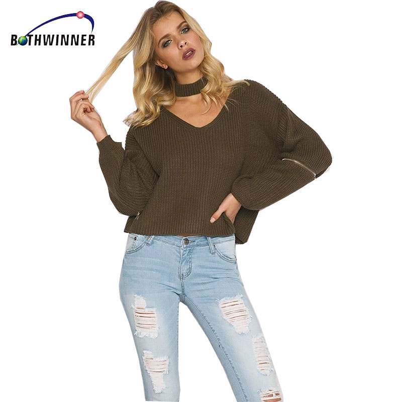 Bothwinner Elegant Halter Knitted Sweater V-neck Sexy Loose Open Zipper Sleeve Pull Femme Tricot Pullover Jumper