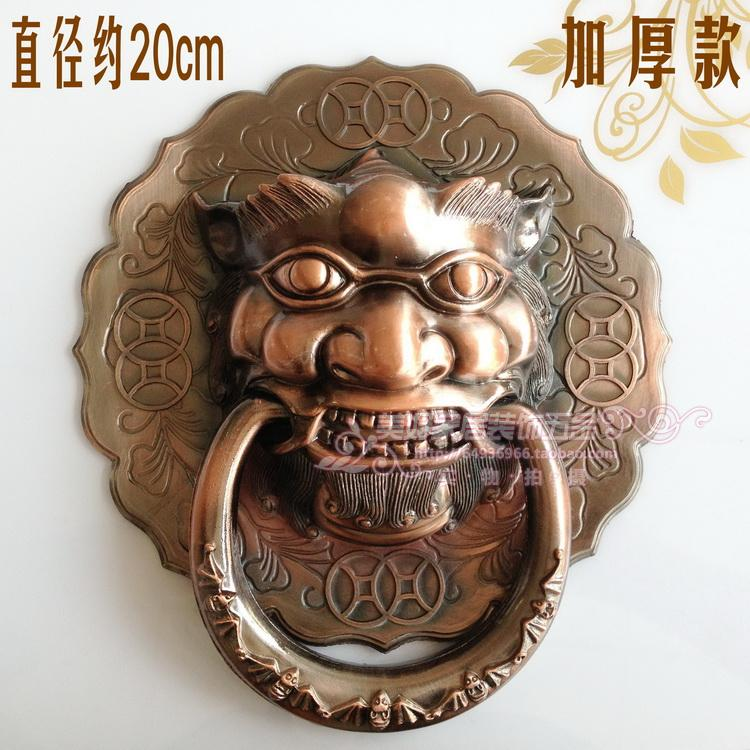 ФОТО Classic antique copper outdoor patio door knocker Shoutou Chinese lion head handles Handle 20cm free shipping