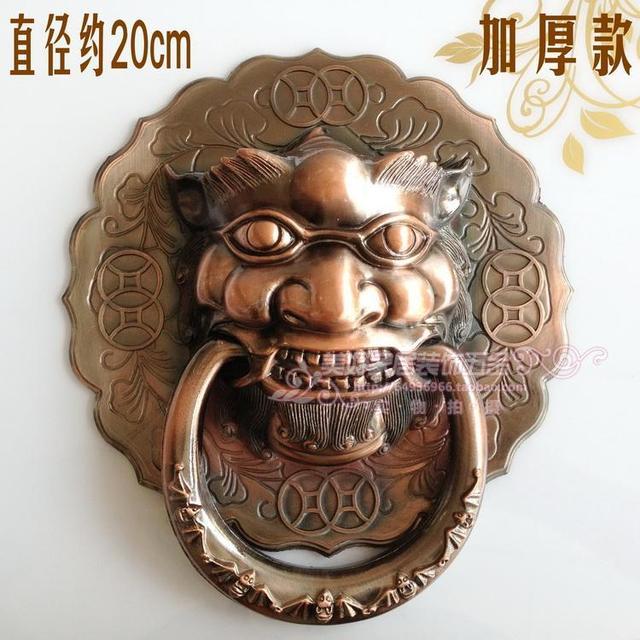 Classic antique copper outdoor patio door knocker Shoutou Chinese lion head handles Handle 20cm free shipping