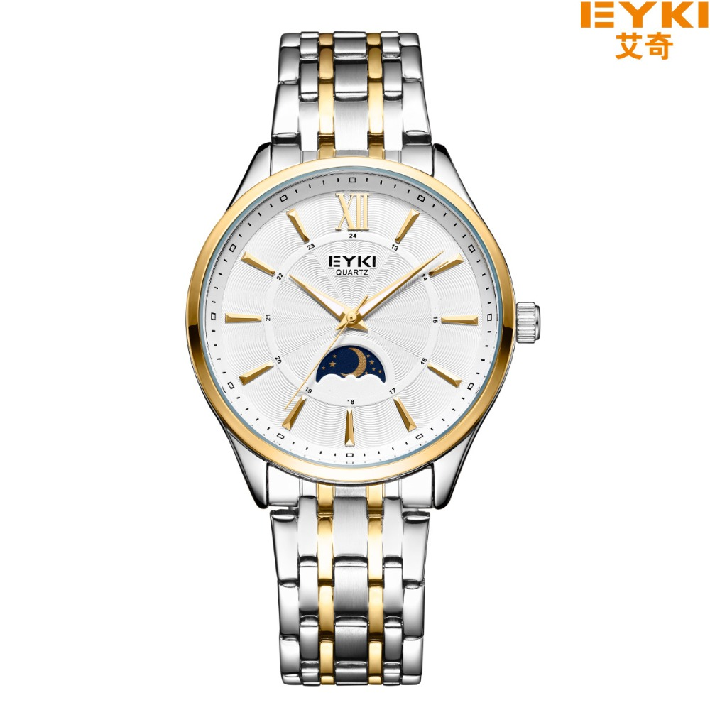 цены  EYKI Top Brand Luxury Watch Men Brand Men's Watches Stainless Steel Mesh Band Quartz Wristwatch Sun Moon And Stars Dress Watch