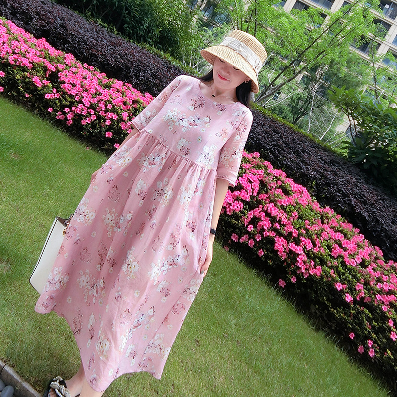 Longues Coton Moitié Confortable Grand 2019 Rose Robes Lâche Pink Casual Femmes New Lin Impression Spring Manches 7q8Rwp8OvH