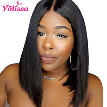 Yolissa Short Lace Front Human Hair Wigs Pre Plucked Bob Wig Natural Black Straight Brazilian Wig Remy Hair(China)