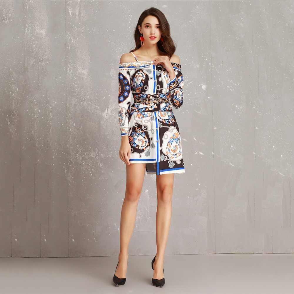 Truevoker дизайнерское Европейское сексуальное платье на бретельках Женские ретро этнические печатные с поясом нерегулярные вечерние платья Vestido Femme Ete