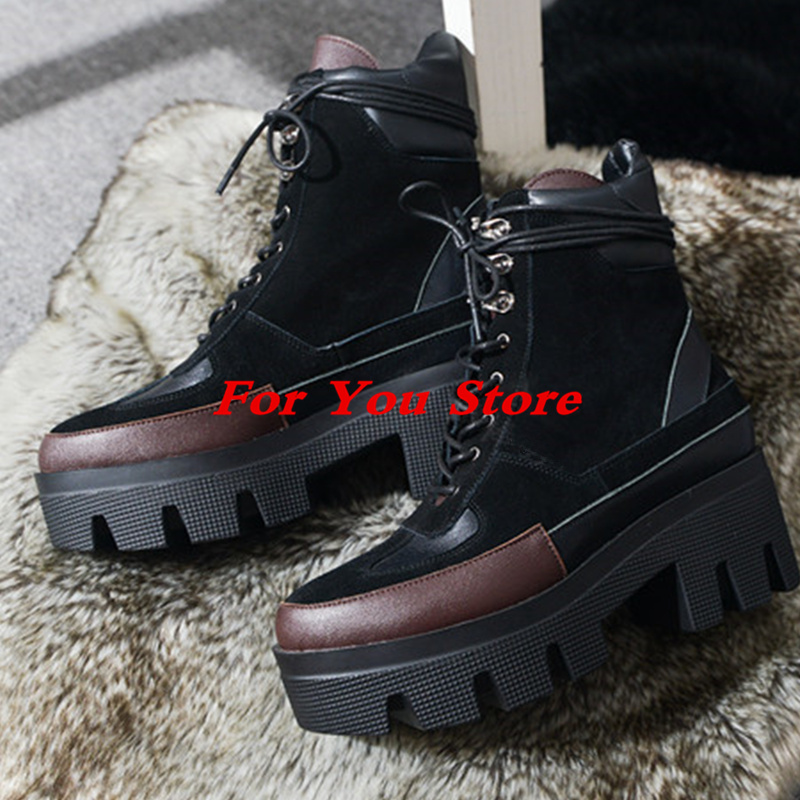 Platform Design High Heel Women Winter Boots Front Lace Up Design Ankle Boots Luxury Brand Star Runway Short Booties Suede Shoes air conditioner part 3 way valve 1 4npt thread single manifold gauge 220psi