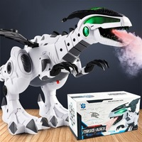 White Mechanical Spray Electric Dinosaur Toy Light Fire Breathing Machine Dragon Shaped Simulation Dinosaur model Toy fast ship