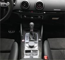 LHD ТОЛЬКО для Audi A3 S3 RS3 2014-2017 углеродного волокна интерьера молдинги центральной Управление Панель крышка отделка 10 шт.