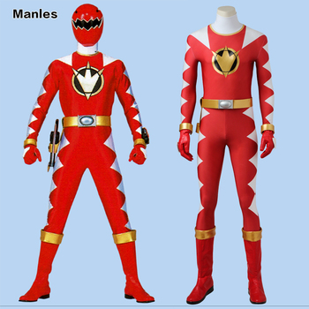 Dino Thunder AbareRed Cosplay Costume Jumpsuit DinoThunder Bodysuit Cosplay Bodysuit Halloween Carnival Red Outfit Boots Adult