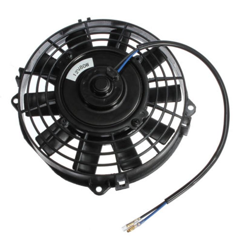 7 inch Electric Radiator/Intercooler 12v Slim Cooling Fan + Fitting Kit delta 12038 12v cooling fan afb1212ehe afb1212he afb1212hhe afb1212le afb1212she afb1212vhe afb1212me