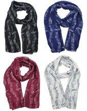 Новинка 2019, модный весенний шарф, женский шарф, черный шарф с рисунком нот, музыкальные ноты