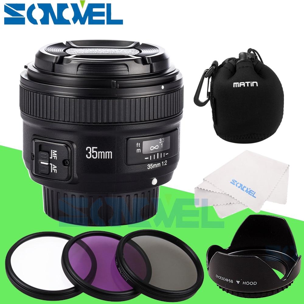 Yongnuo YN35mm F2 objectif grand angle grande ouverture fixe Auto Focus objectif + UV CPL FLD filtre d'objectif + sac d'objectif + pare-soleil pour Nikon