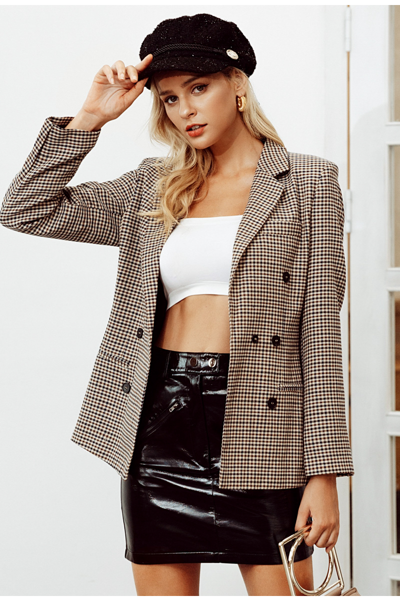 Simplee Fashion double breasted plaid blazer Female long sleeve office ladies blazer 18 Autumn jacket women outerwear coats 8