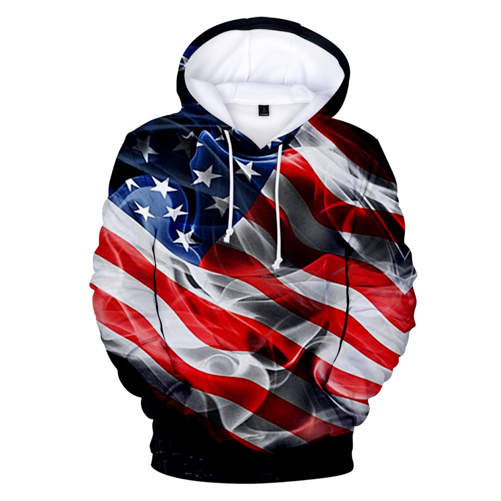 Aikooki USA Hoodies Flag-Tops United-States Men Sweatshirt Coats National FOURTH Day