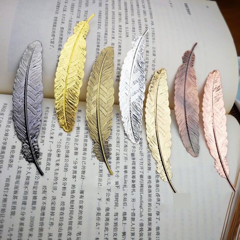 1pc Creative Retro Feather Metal Bookmark Beautiful Cool Book Page Mark Children Student Gift Stationery School Office Supplies image
