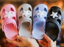 boys sandals summer hot children rain shoes beach sandal slippers new cheap soft closed toe kids clogs star blk EVA dual use