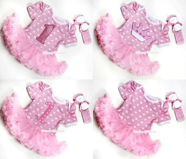 Light Pink White Dot Bodysuit Jumpsuit Romper Light Pink Pettiskirt Baby  Dress Headband NB-18M MAJS0041 a11a571bf