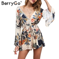 BerryGo Sexy Lace Up Backless Print Jumpsuit Romper Women Floral Hollow Out Short Overalls Casual Flare