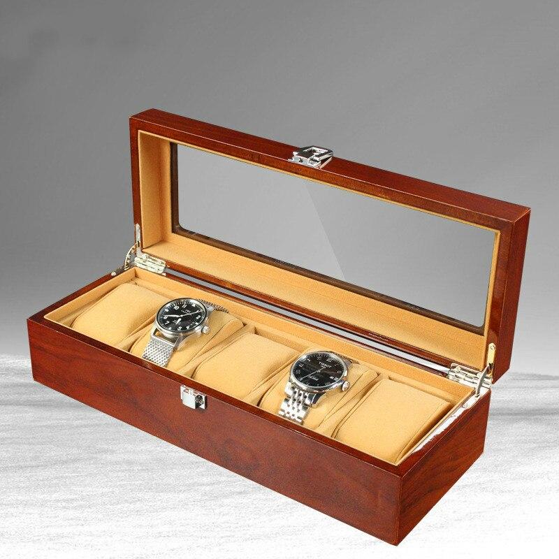 Nouveau 5 grille en bois montre boîte mallette de rangement organisateur bijoux affichage cadeau de haute qualité rétro luxe montre-bracelet boîtier bois montres boîte