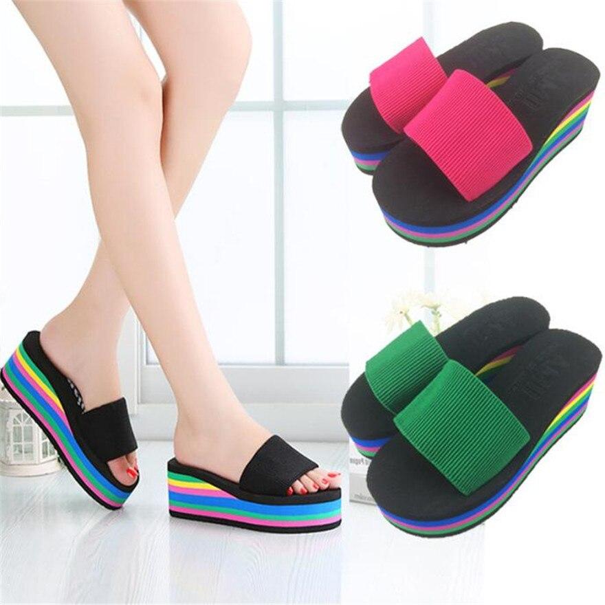 Summer New Casual Non-slip Rainbow Platform Sandals Wedges Womens Girls Sandals High Heel Slippers Summer Beach Shoes terlik