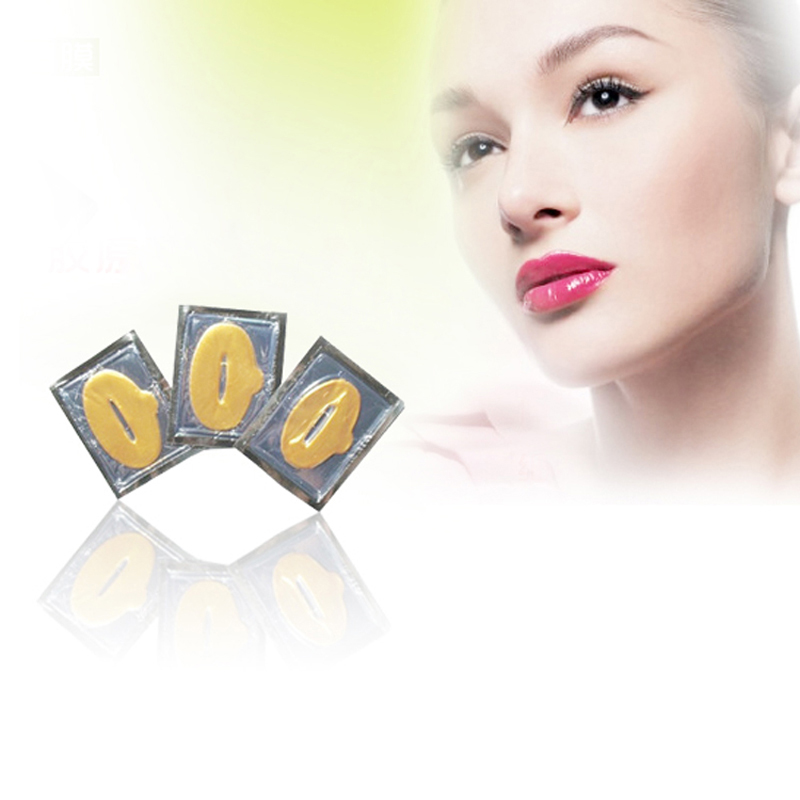 10PCS Plump Lip Gold Powder Crystal Collagen Lip Mask Whitening Moisturizing Essence Lip Care Anti-wrinkle Repair Lip Mask Patch