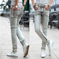 2015 new men wear white jeans Slim Korean tidal tight jeans
