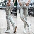 2015 nuevos hombres visten de blanco jeans Delgado Coreano marea jeans ajustados