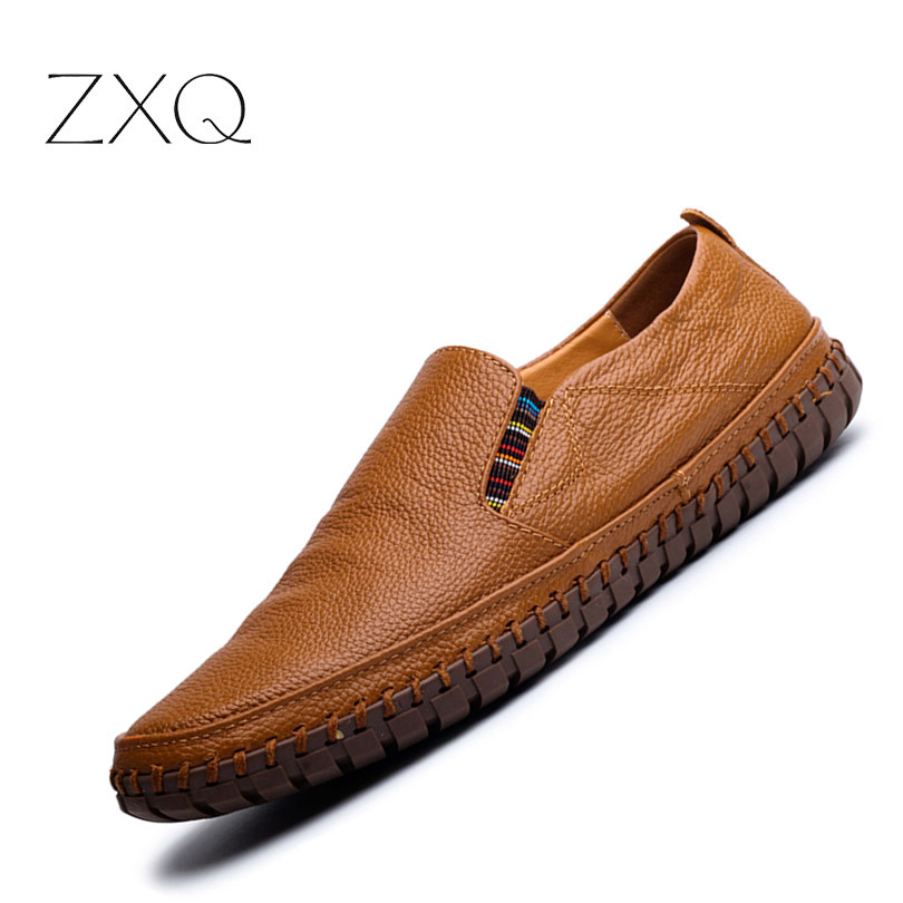 Pl;us Size 38-47 Handmade Genuine Leather Mens Shoes Casual Men Loafers Fashion Breathable Driving Shoes Slip On Moccasins klywoo breathable men s casual leather boat shoes slip on penny loafers moccasin fashion casual shoes mens loafer driving shoes