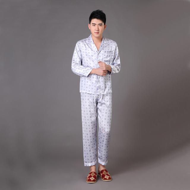 Primavera outono novos homens falso seda Sleepwear chinês do Vintage impresso pijama terno pijama de salão S M L XL XXL XXXL MP012