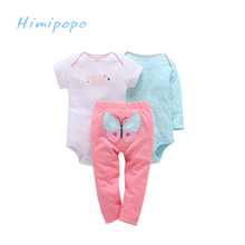 HIMIPOPO New Baby Boy Bodysuit Baby Children Clothing Set Infant Clothes Sets Newborn Baby Girl Romper Girls Pants 3pcs/lot