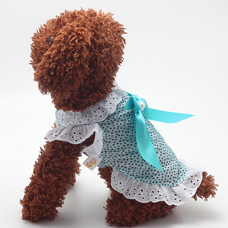 Summer Small Dogs Lace Bowknot Dress Pet Puppy Cat Cotton Blend Apparel XS/S/M/L/XL Hot Selling