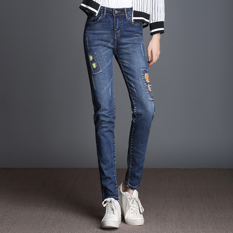 FOKINOFE High Waist Hole Elastic Loose Straight Woman Jeans 2017 Spring Straight Patchwork Jeans Plus Size