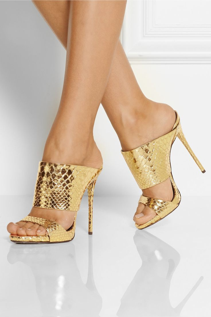 Name brand sexy faux snakeskin grain high heel sandals golden ...