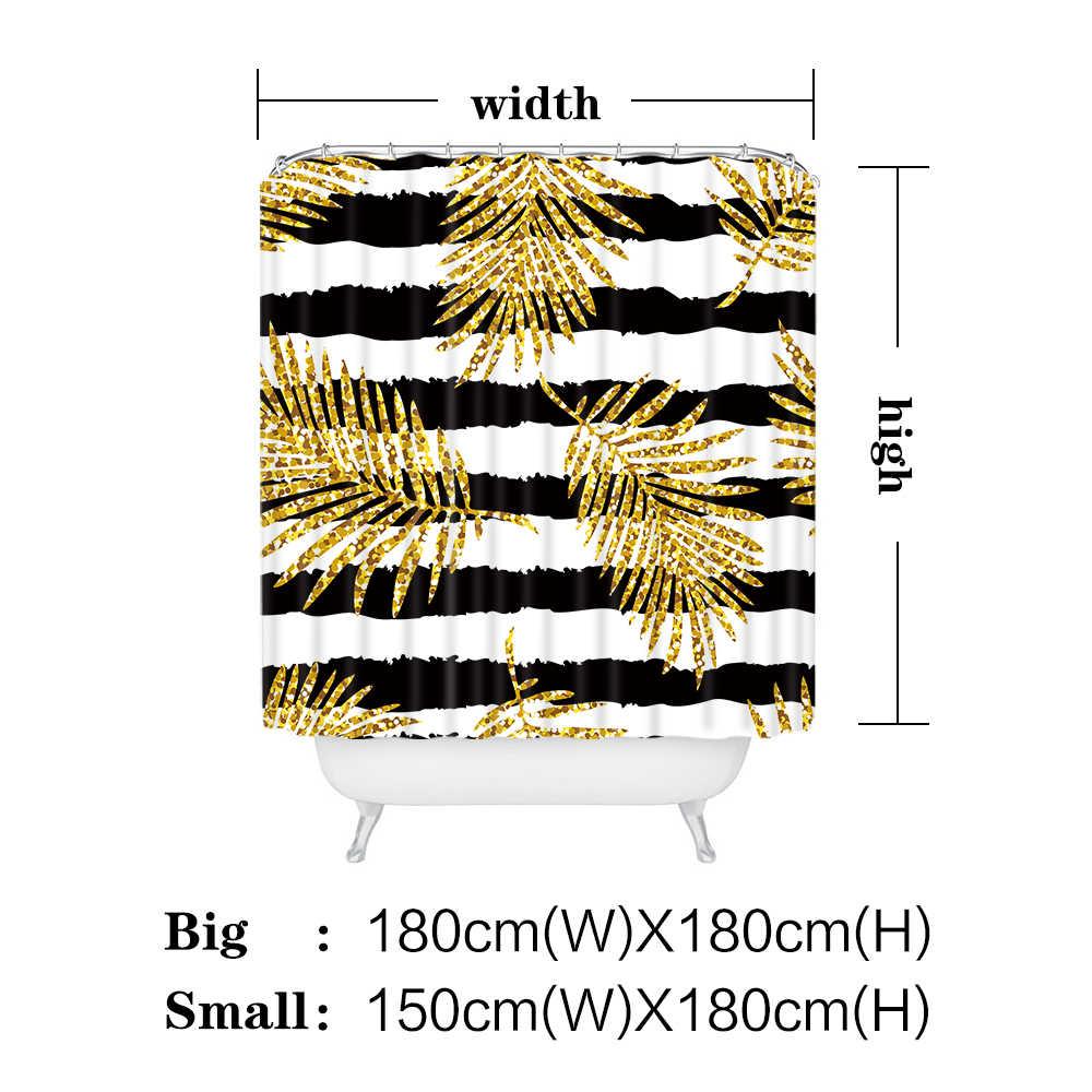 Miracille الحديثة بريق الذهب يترك الأناناس طباعة دش الستائر البوليستر للماء القط فلامنغو نمط ستارة الحمام