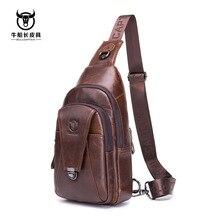 Brand 2020 High Quality Men Genuine Leather Cowhide Vintage Chest Back Pack Travel fashion Cross Body Messenger Shoulder Bag