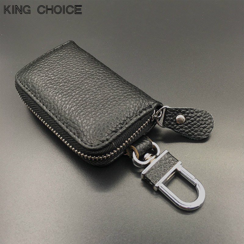 Genuine Leather Car Key Wallets Men Key Holder Housekeeper Keys Organizer Women Keychain Covers Zipper Key Case Bag Pouch Purse vintage genuine leather key wallet men keychain covers zipper key case bag men key holder housekeeper keys organizer