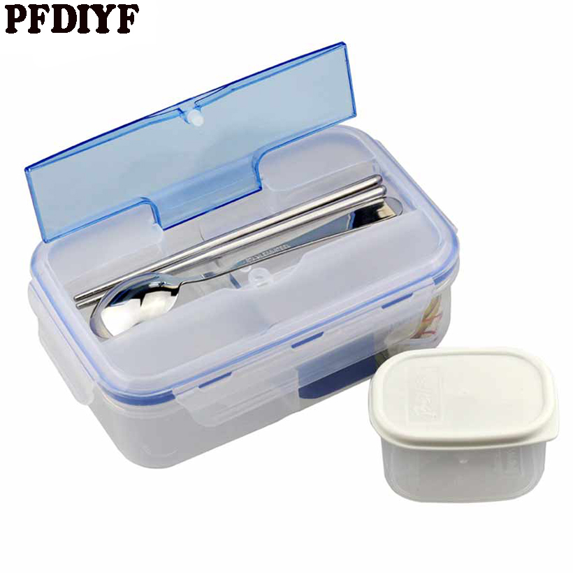 PFDIYF Portable 1000mL Microwave Lunch Leakproof Singel Layer Large Capacity Bento Box Set with Lunchbox Healthy Food