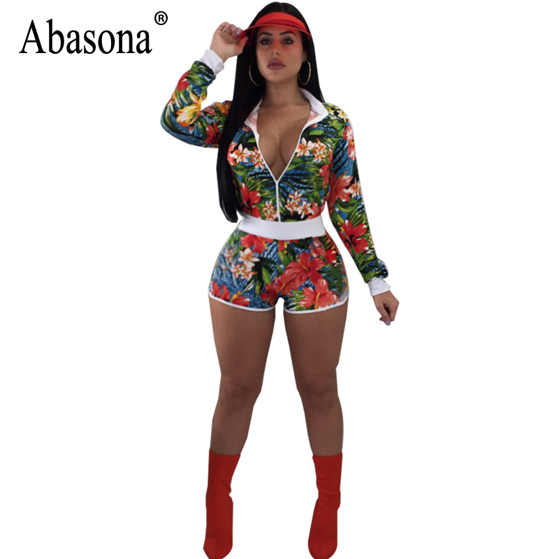Abasona 2018 Floral Printed Rompers Women Jumpsuit Sexy Deep V-Neck Long Sleeve Bodycon Playsuit Summer Casual Playsuit Vestidos