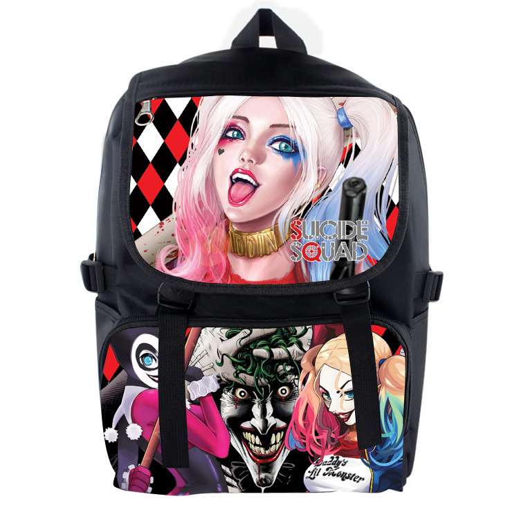 Anime Suicide Squad Nylon Backpack Cartoon School Bag Student Bags Double Shoulder Waterproof Boy Girls Schoolbag