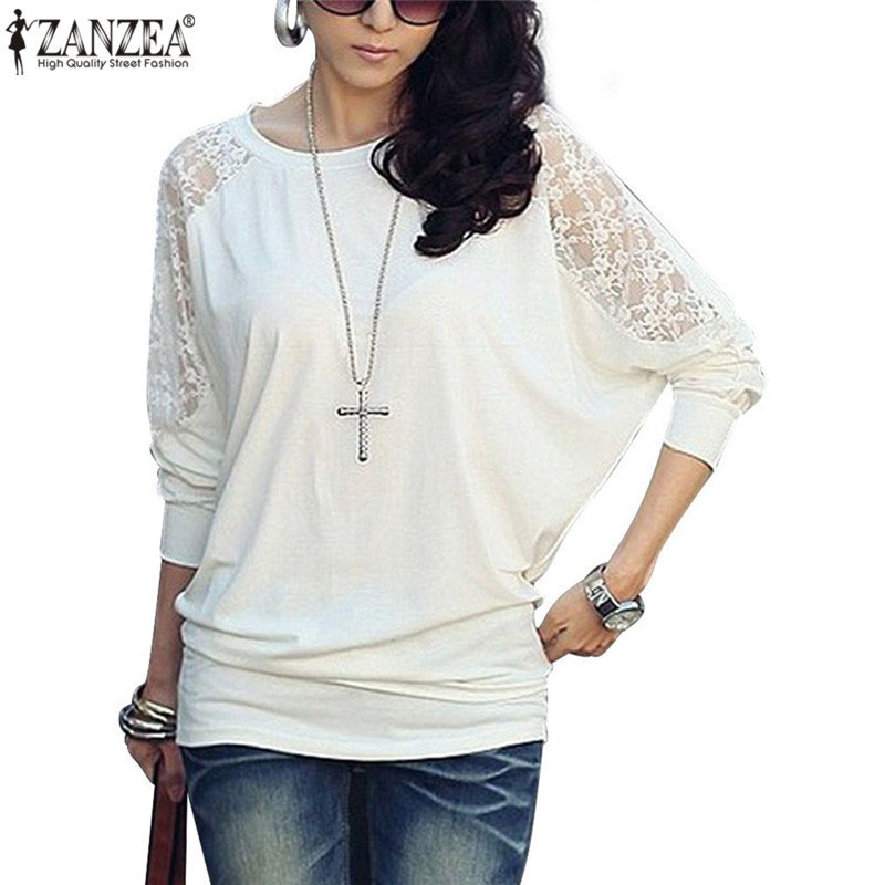 Excellent New 2017 Spring Women Tops Fashion Loose Long Sleeved Women Shirts Plus Size Elegant Sexy Lace ...