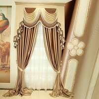 luxurious upscale European style High precision Process Embroidered Superb Solid color cloth blackout curtain valance sheer E517