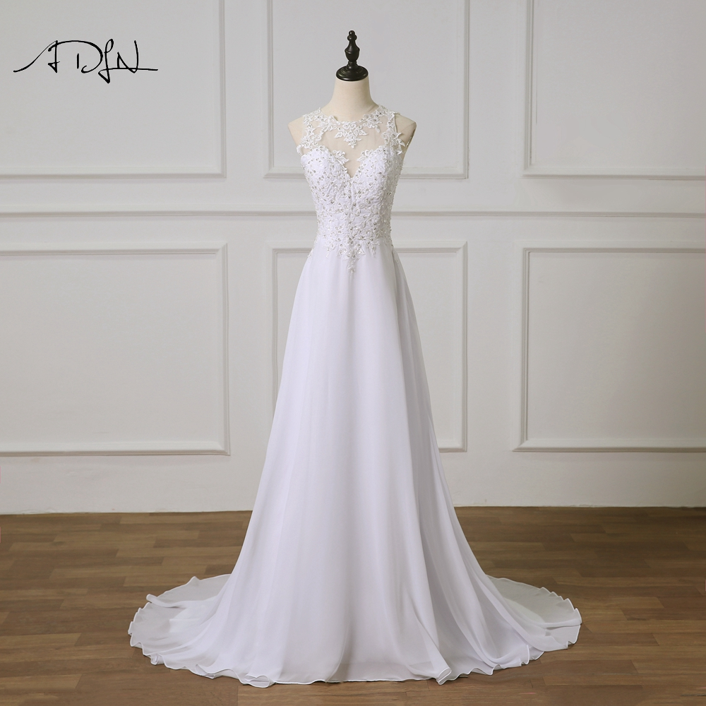 ADLN 2019 New Beach Lace Bride Dress White Ivory Chiffon Wedding Dress Custom Made See Through