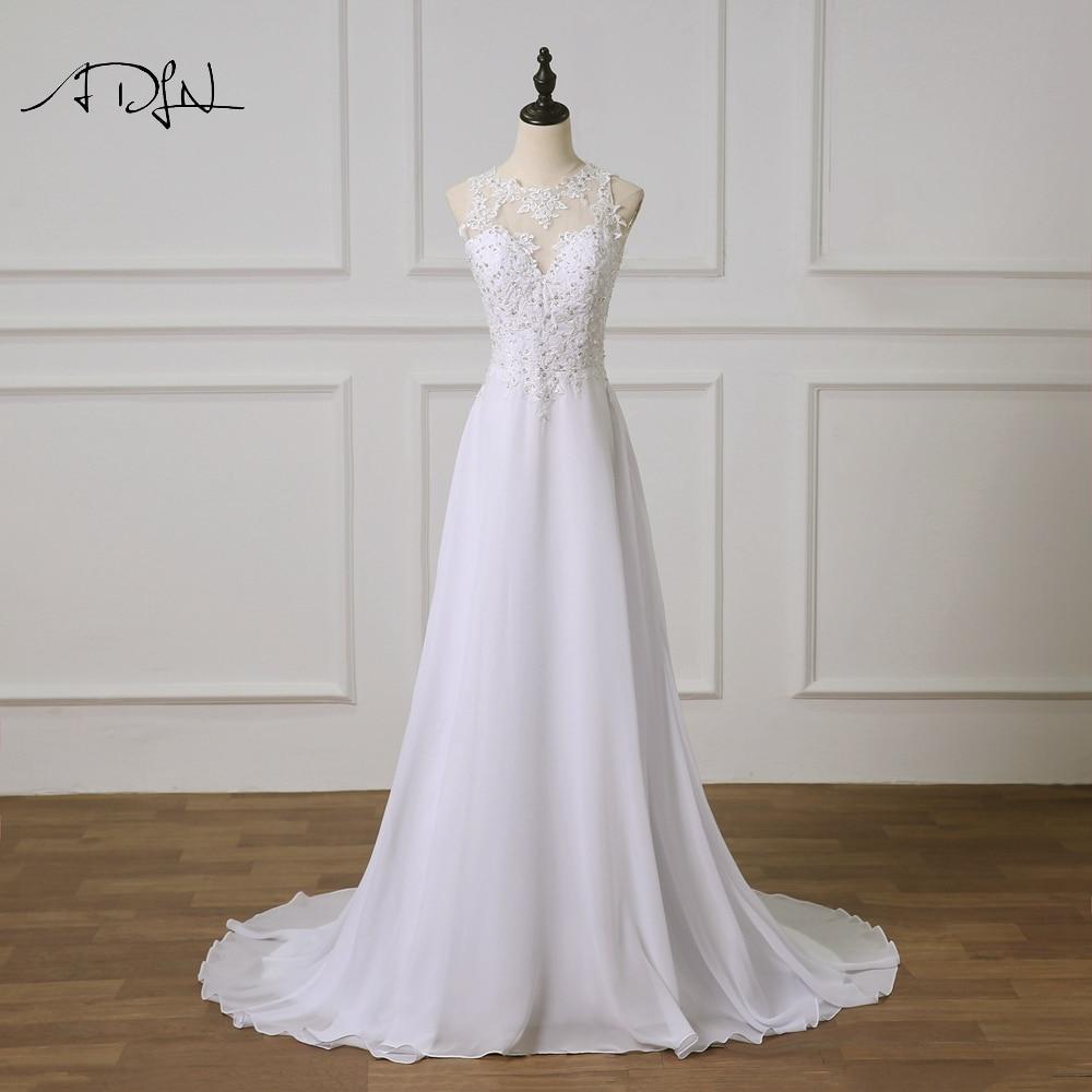 ADLN 2019 New Beach Lace Bride Dress White/Ivory Chiffon Wedding Dress Custom Made See Through Bridal Gown Customized-in Wedding Dresses from Weddings & Events    1