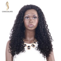 CHOCOLATE Glueless Jerry Curly Lace Front Human Hair Wigs For Women Black Color Lace Front Wigs Bleached Knots Full End