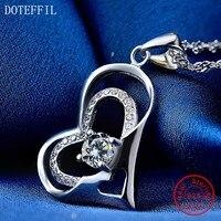 Collar de corazón de amor de Plata de Ley 925, colgante de corazón de circón AAAA, joyería de plata de alta calidad