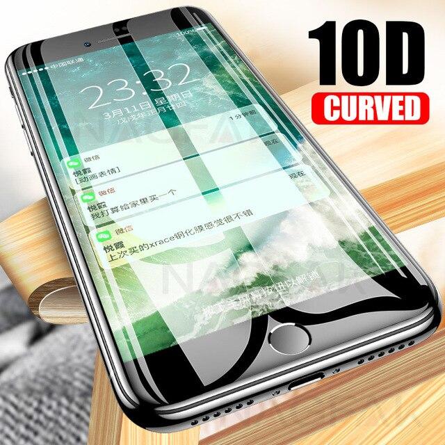 NAGFAK 10D Vidro De Proteção no Para o iPhone 6 6 s 7 8 além de vidro cobertura completa iPhone 7 8 protetor de Tela mais 6 s Vidro Temperado