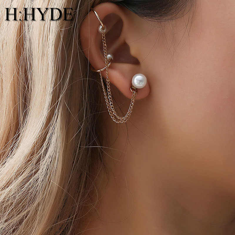 H:HYDE Punk Mujer Brincos Imitation Pearls Chain Long Tassel Ear Cuff Clip Earrings For Women Jewelry Boucles Pendientes Bijoux